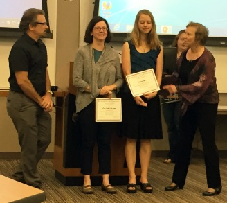 Award ceremony for SUROP From L to R: Associate Dean Mike Herman, Jocelyn, Kristen, Dean Carol Shanklin